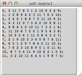 Figure 5, a 12 tone matrix compiled into COLL object.